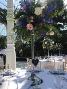Wedding Flowers - Candelabra and mirror plate hire